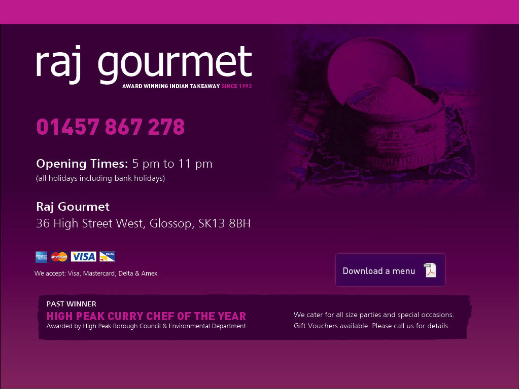 Raj Gourmet Glossops Premier Indian Food Take Away